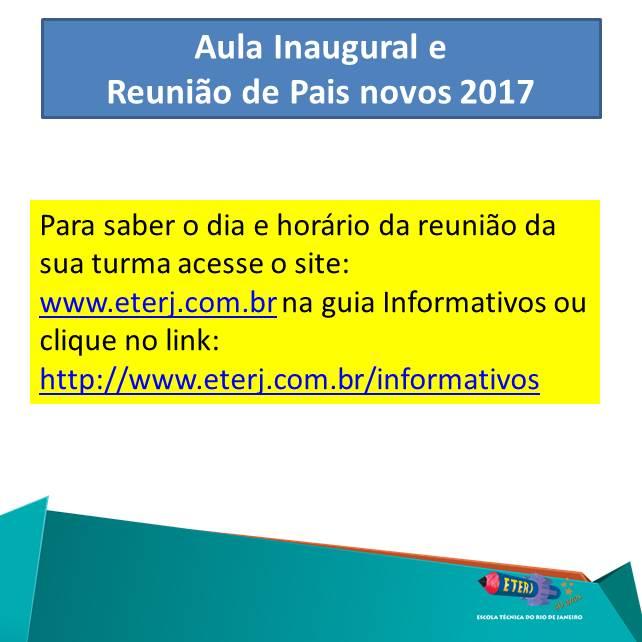 Aula Inaugural e Reunião de Pais Novos 2017