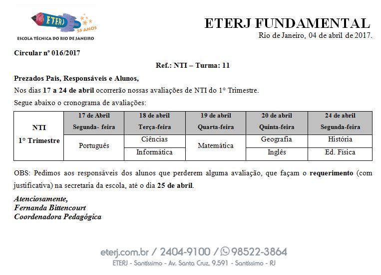Calendário NTI – Ensino Fundamental – Santíssimo