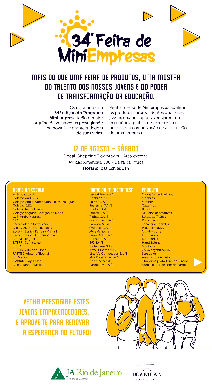 A ETERJ estará participando da 34ª Feira de Miniempresas