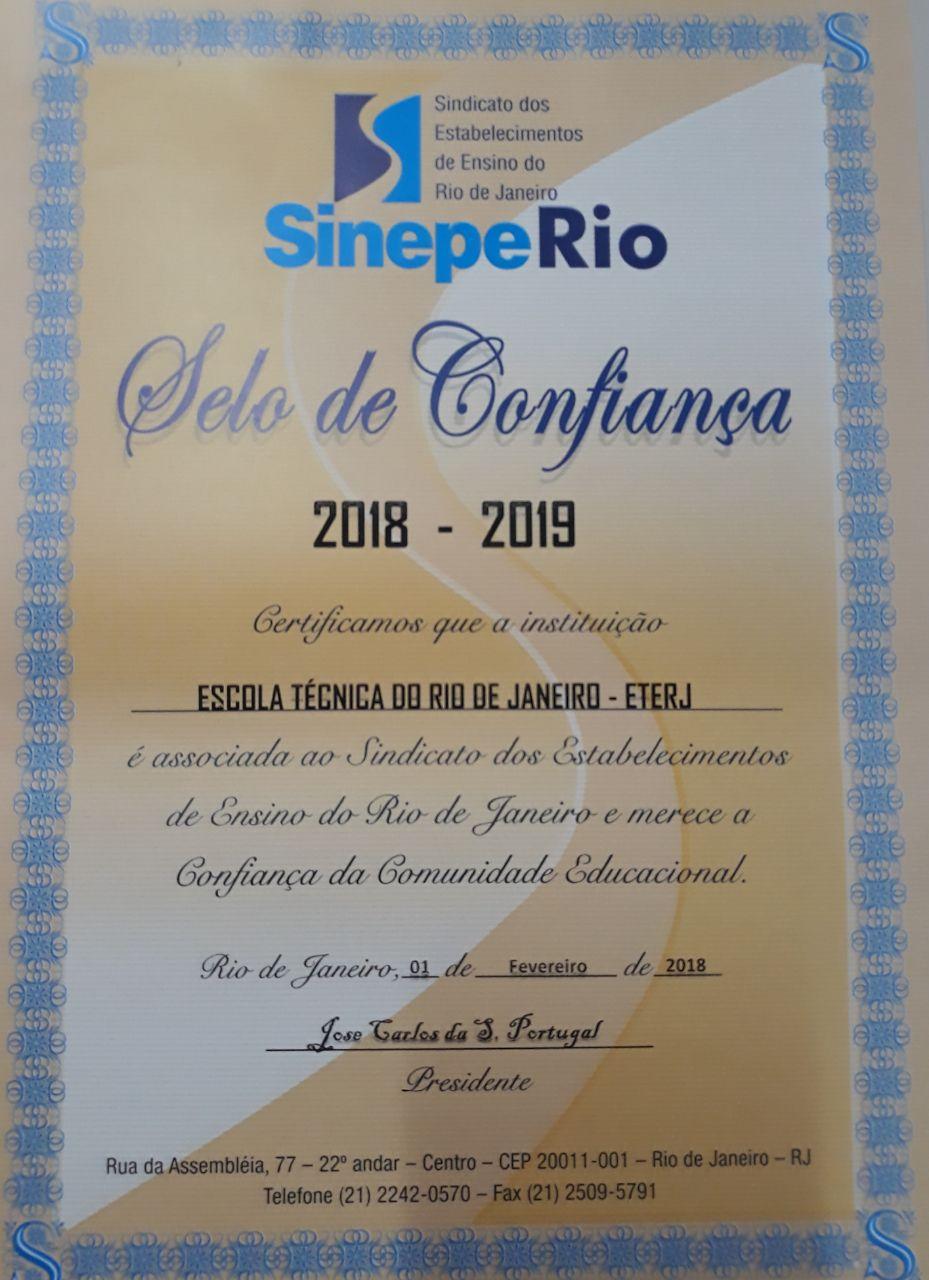 Selo de Confiança Sinepe Rio 2018-2019