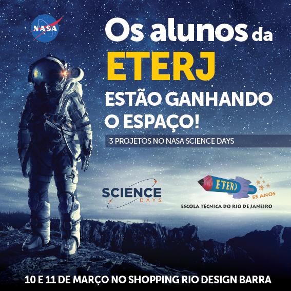 ETERJ no NASA Science Days, nos dias 10 e 11 de março