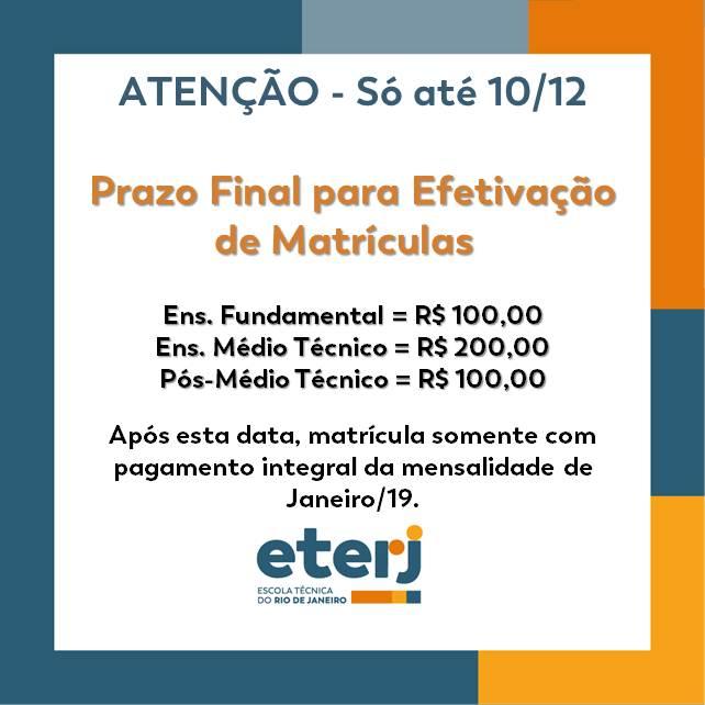 Prazo Final para Efetivação de Matrículas 2019 – 10/12/18