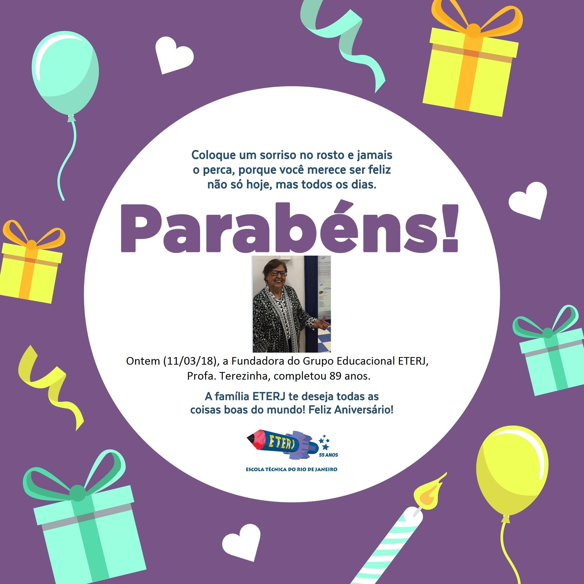 11/03/18 – Aniversário da Fundadora da ETERJ, Prof. Terezinha