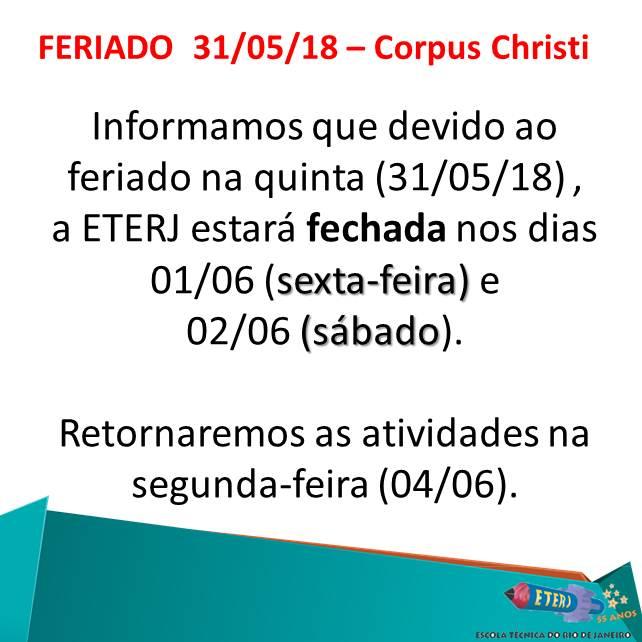 COMUNICADO – FERIADO 31/05/18