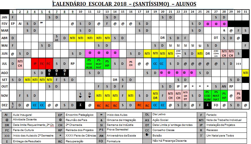 Calendário 2018 – Ensino Médio – Santíssimo