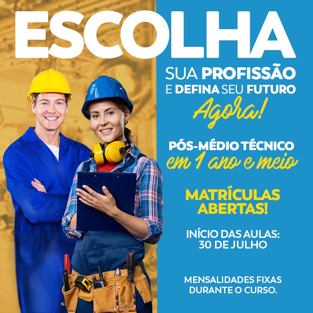 Matrículas abertas para Pós-Médio Técnico 2º semestre de 2018